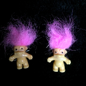 NEW - Funky Vintage Lucky TROLL DOLL EARRINGS - Miniature Retro Nostalgic Collectible Toy Charm Costume Jewelry - PINK - Nostalgic mini trolls approx. 1-inch tall (2.5cm) without hair. Made in Korea. Fun to collect and wear!