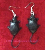 Big Funky Black MOUSE EARRINGS-Gothic Halloween Rats Rodent Animal Witch Charm Costume Jewelry-Large Retro Vintage Toy Mice Rubbery Plastic Critter Charms. Love these MEECES to PIECES! Great mad scientist accessory for next weird science experiment!