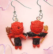 Funky Mini Figure VOODOO DOLL LITTLE RED DEVIL DEMON EARRINGS Novelty Valentine Love Zombie Costume Jewelry -Cute fun favorite crazy character dangle charm-KITSCH KAWAII HARAJUKU GOTH Emo miniature rubbery plastic ornament fully dimensional figurine.