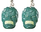 HUGE Funky INCREDIBLE HULK EARRINGS - Retro Emo Movie Comics Punk Novelty Cartoon Character Cosplay Costume Jewelry - You can be a Super-Hero wearing these!